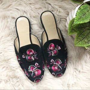Ann Taylor Black Embroidered Suede Mules